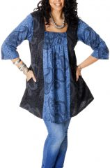 Tunique femme pulpeuse Originale et Ethnique Elodie Noire et Bleue 286734