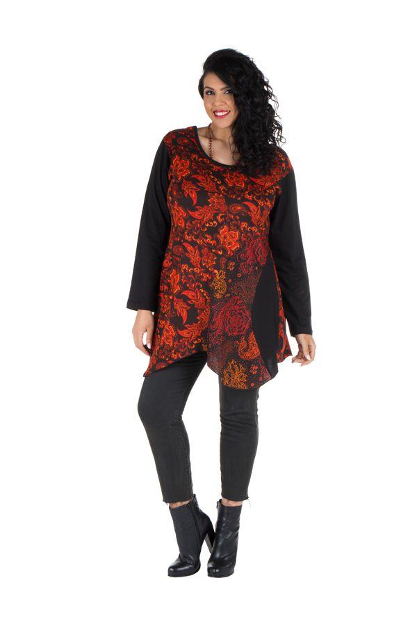 Tunique femme ronde asymétrique Orange évasée à col rond Danuta 301809