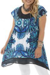 Tunique femme ronde avec imprimés fantaisies bleus Réna 295429