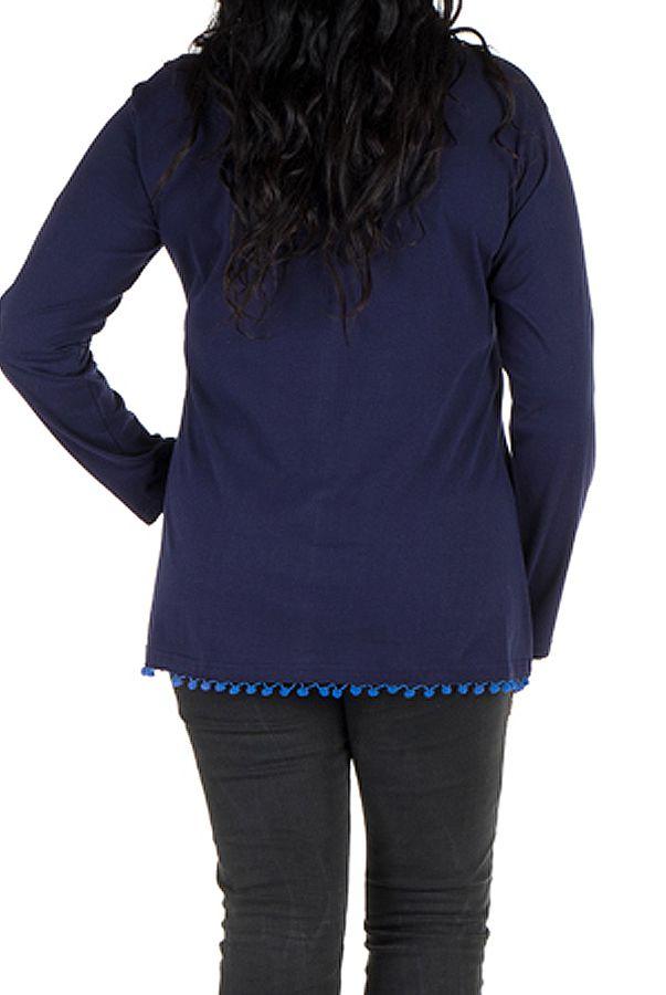 Tunique femme ronde Bleue tendance avec pompons et col rond Ismael 302365