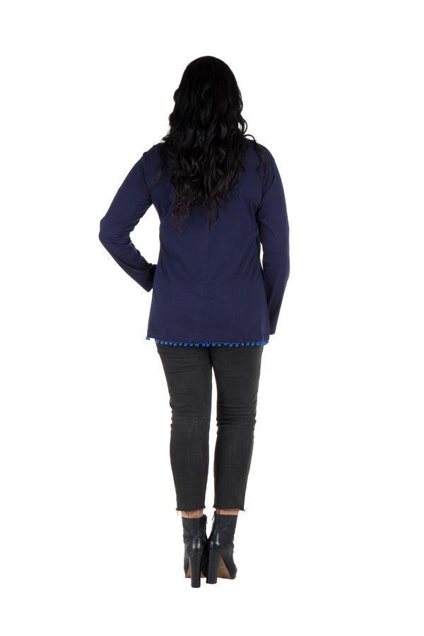 Tunique femme ronde Bleue tendance avec pompons et col rond Ismael 302366