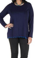Tunique femme ronde Bleue tendance avec pompons et col rond Ismael 302367