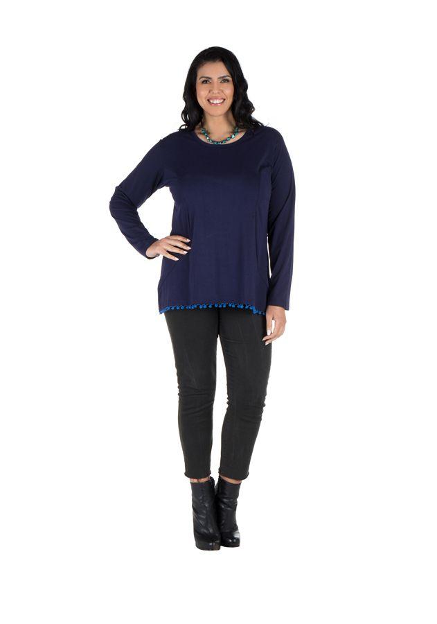 Tunique femme ronde Bleue tendance avec pompons et col rond Ismael 302368