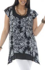 Tunique femme ronde coupe asymétrique et imprimés indiens Réna 295423