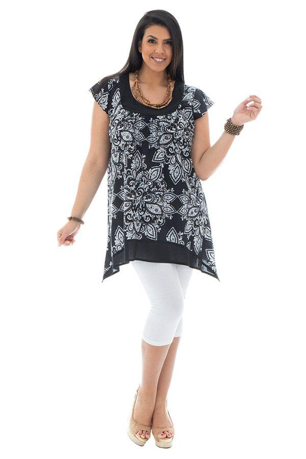 Tunique femme ronde coupe asymétrique et imprimés indiens Réna 295424