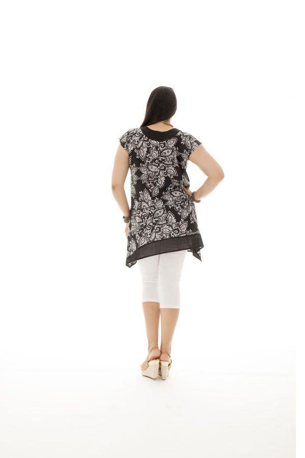 Tunique femme ronde coupe asymétrique et imprimés indiens Réna 295425