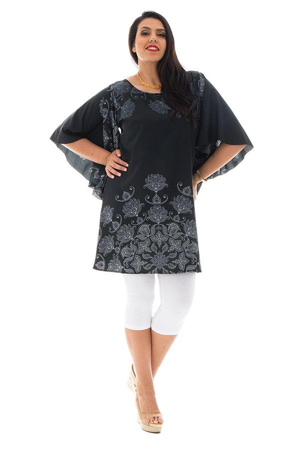 Tunique femme ronde Ethnique aux manches originales Pauline Noire 294010