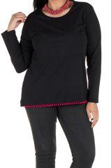 Tunique femme ronde Noire avec pompons et manches longues Fiona 302091
