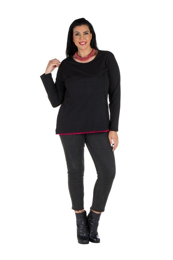Tunique femme ronde Noire avec pompons et manches longues Fiona 302092