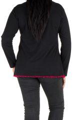 Tunique femme ronde Noire avec pompons et manches longues Fiona 302093