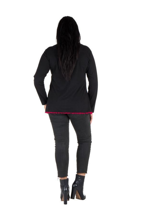 Tunique femme ronde Noire avec pompons et manches longues Fiona