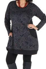 Tunique femme ronde Noire imprimés style arabesque et col rond Eva 301850