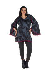 Tunique femme ronde Noire style flamenco avec manches évasées Frida 302015