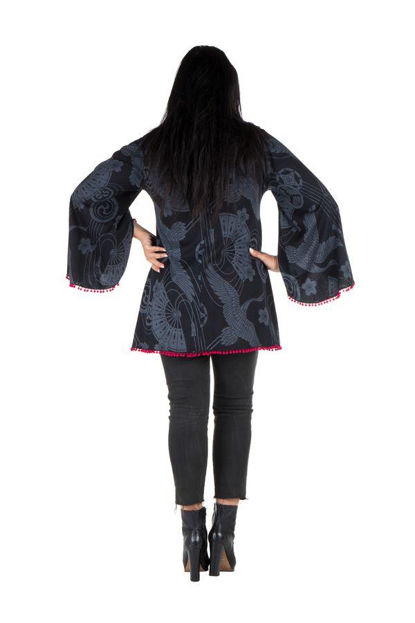 Tunique femme ronde Noire style flamenco avec manches évasées Frida 302017