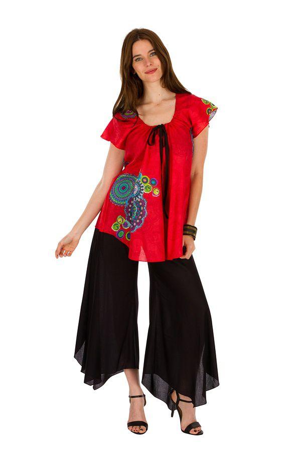 Tunique femme rouge en coton pour l' été Jennyfer 289550