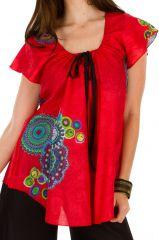 Tunique femme rouge en coton pour l' été Jennyfer 292217