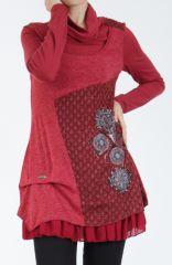 Tunique femme rouge en maille tricotée idéale pour l'hiver Sorya 304855