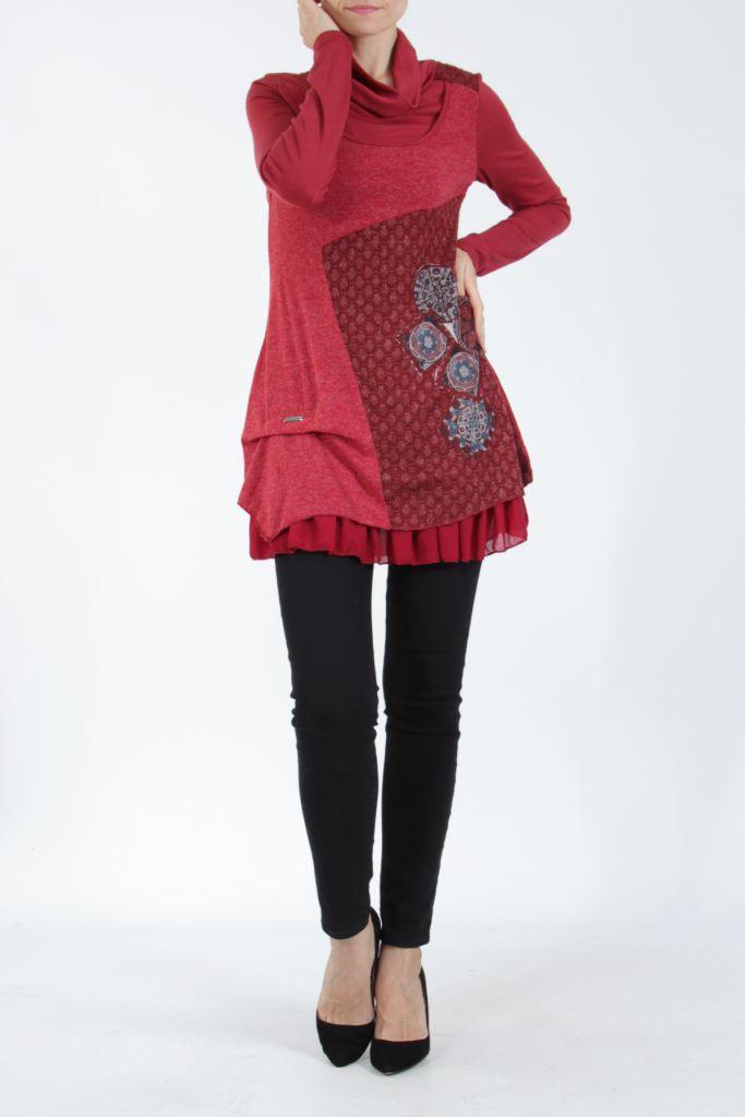 Tunique femme rouge en maille tricotée idéale pour l'hiver Sorya 304856
