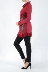 Tunique femme rouge en maille tricotée idéale pour l'hiver Sorya 304857