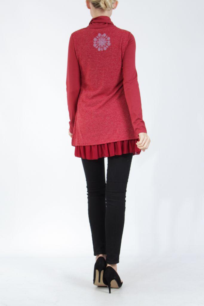 Tunique femme rouge en maille tricotée idéale pour l'hiver Sorya 304858