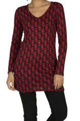 Tunique femme rouge et noire imprimé paisley ethnique Marilou