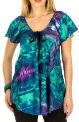 Tunique femme turquoise en coton pour l' été Elina 292178