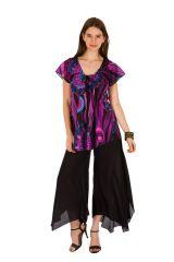 Tunique femme violette en coton pour l' été Elina 289619