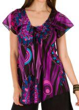 Tunique femme violette en coton pour l' été Elina 292174