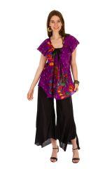 Tunique femme violette en coton pour l' été Lucie 289540