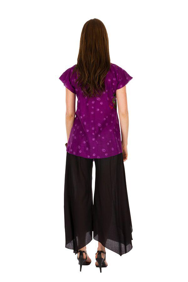 Tunique femme violette en coton pour l' été Lucie 289541