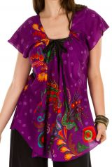 Tunique femme violette en coton pour l' été Lucie 292219