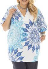 Tunique femmes rondes avec imprimé mandala blanche Katness 292303