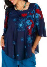 Tunique fleurie à col carré grande taille cérémonie Alye 308620