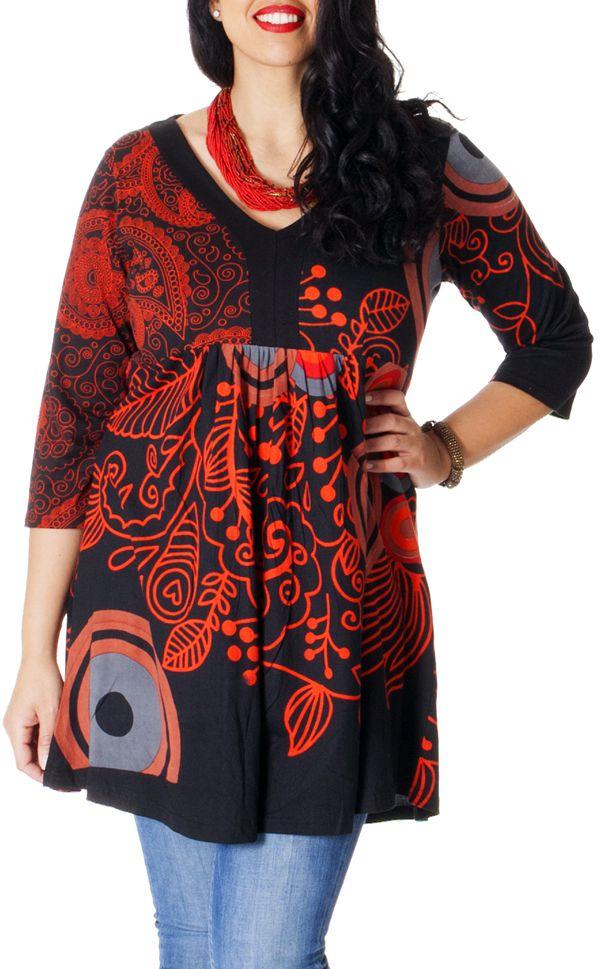 Tunique Grande taille à manches 3/4 Ethnique Goyave Noire Paisley 286788
