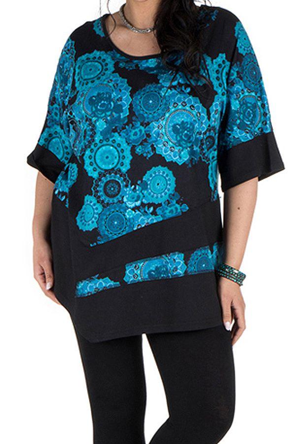 Tunique grande taille à manches courtes Bleue asymétrique et imprimée Loéva 300458
