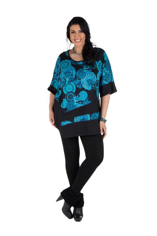 Tunique grande taille à manches courtes Bleue asymétrique et imprimée Loéva 300459