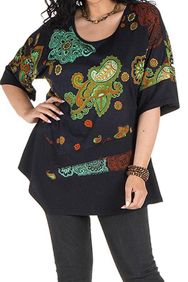 Tunique grande taille à manches courtes Noire ample et imprimée Kiera 300446