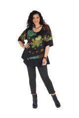Tunique grande taille à manches courtes Noire ample et imprimée Kiera 300447