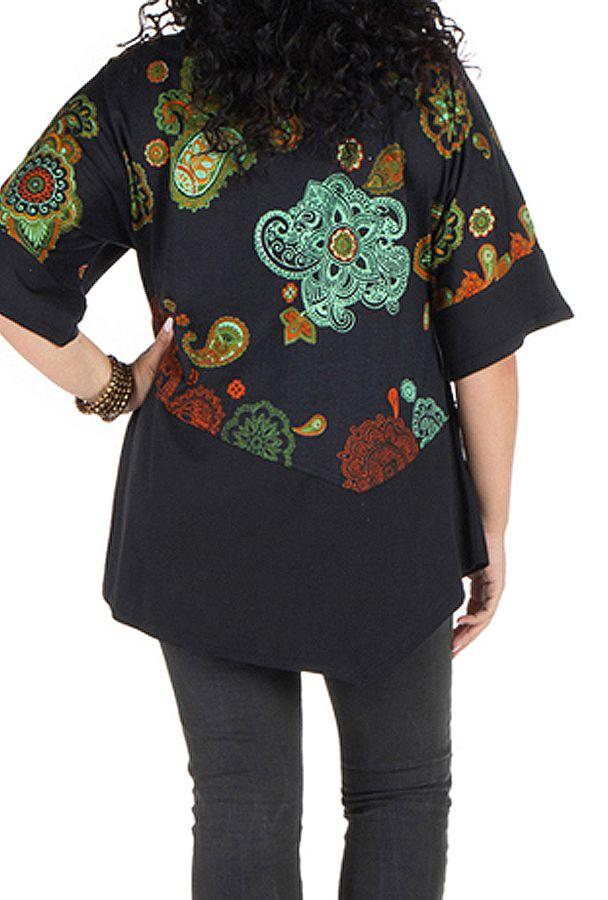 Tunique grande taille à manches courtes Noire ample et imprimée Kiera 300448