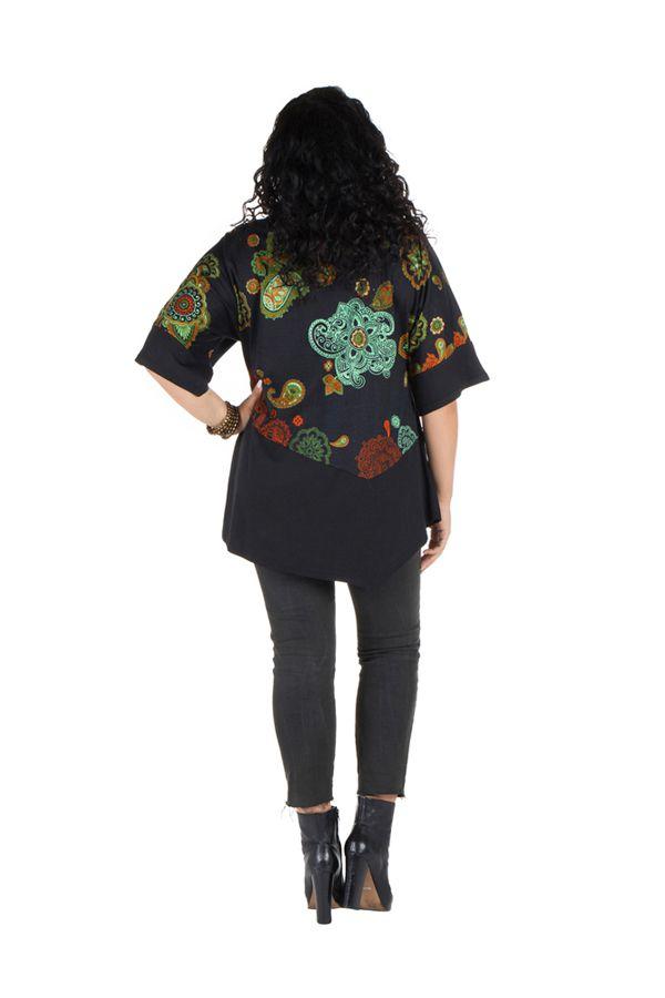 Tunique grande taille à manches courtes Noire ample et imprimée Kiera