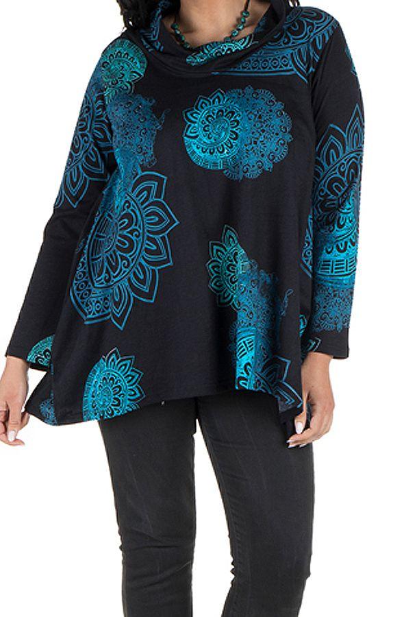 Tunique grande taille à manches longues Bleue à large col imprimée style mandala Thalie 300630