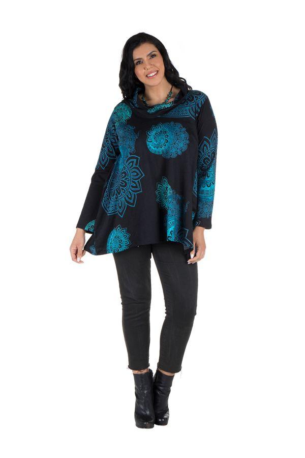 Tunique grande taille à manches longues Bleue à large col imprimée style mandala Thalie 300633