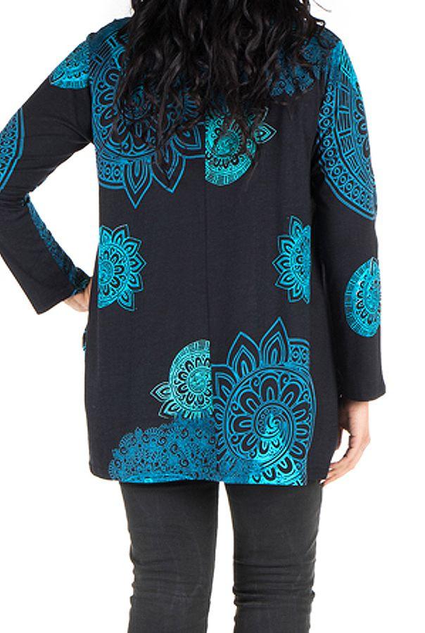 Tunique grande taille à manches longues Bleue à large col imprimée style mandala Thalie 300634