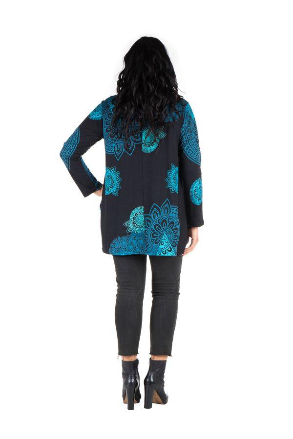 Tunique grande taille à manches longues Bleue à large col imprimée style mandala Thalie