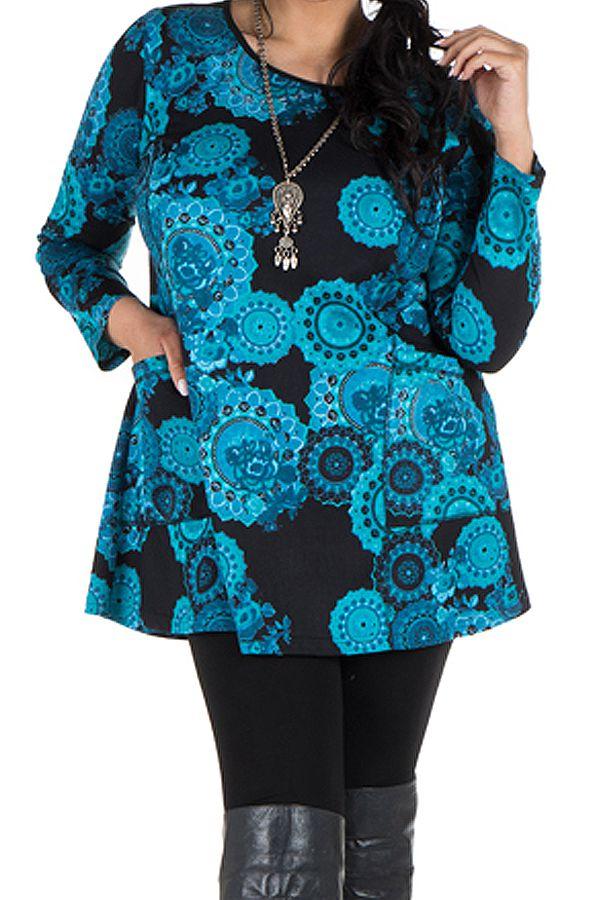 Tunique grande taille à manches longues Bleue à poches et col rond Stella 300789