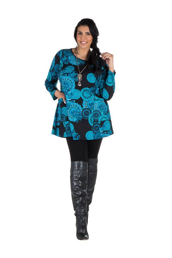 Tunique grande taille à manches longues Bleue à poches et col rond Stella 300790