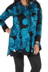 Tunique grande taille à manches longues Bleue avec capuche et motifs originaux Aglaé 300596