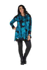 Tunique grande taille à manches longues Bleue avec capuche et motifs originaux Aglaé 300597