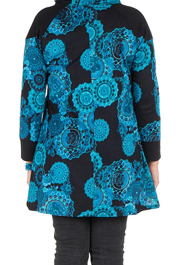 Tunique grande taille à manches longues Bleue avec capuche et motifs originaux Aglaé 300598