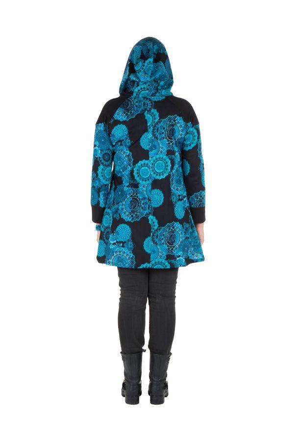 Tunique grande taille à manches longues Bleue avec capuche et motifs originaux Aglaé